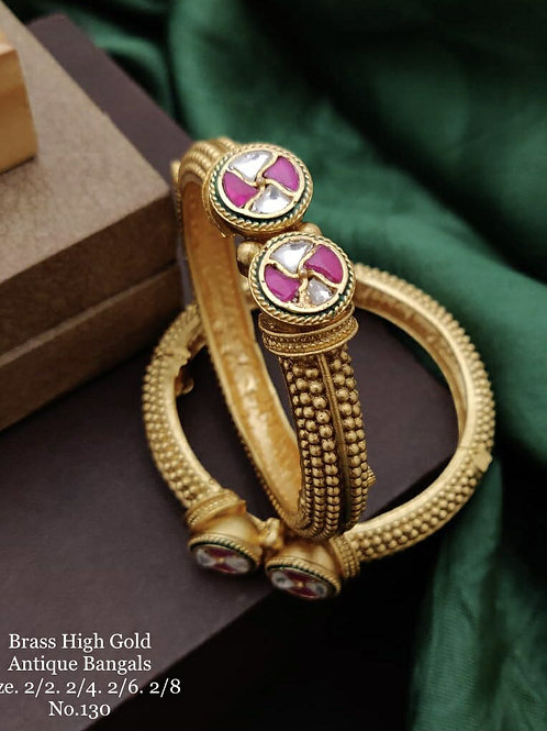 Brass High Gold Antique Bengles Kada Style No 130