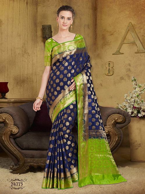 Kanchiuram Style Soft Raw Silk Deep Blue-Green Saree