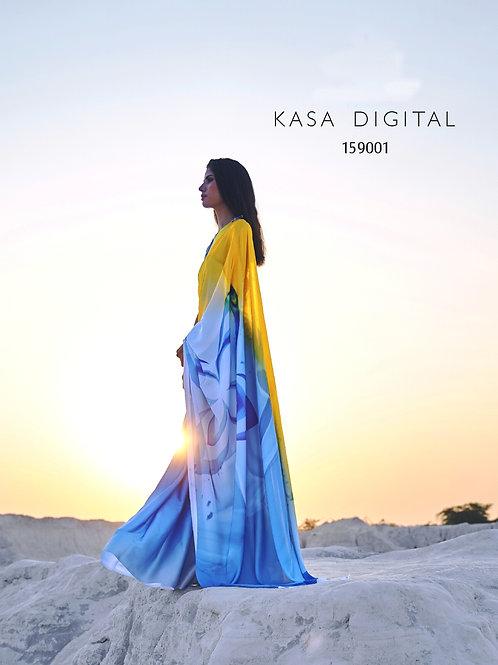 KASA Digital Sun Shine Collection Golden Blue Saree 159001