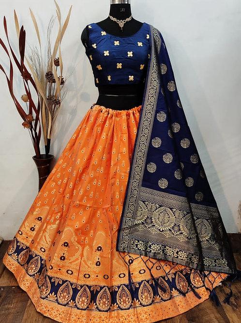 Gorgeous Banarasi Orange Lehenga