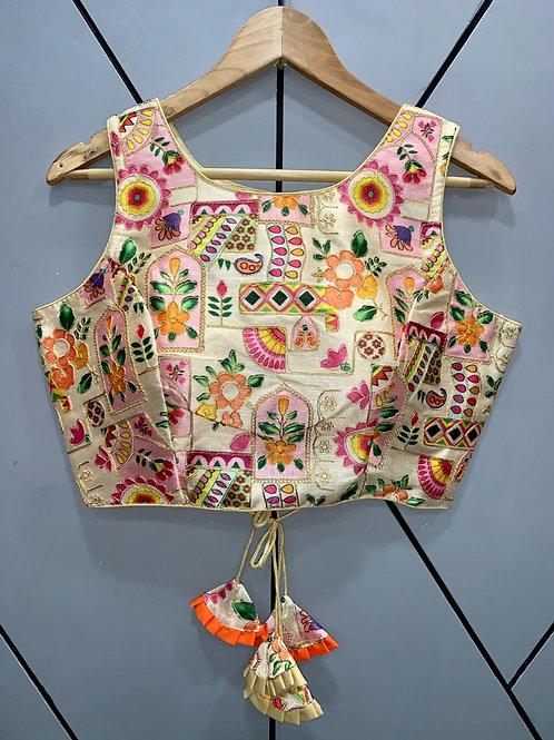 Floral Digital Designer Thread Work Blouse 03