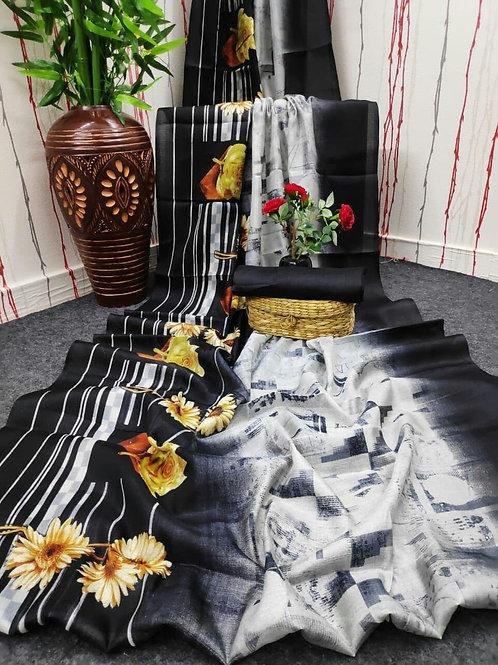 Digital Print Cotton Linen Saree - 07
