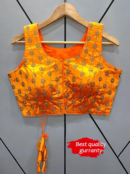 Designer Embroidery Fantom Silk Deep Yellow Blouse