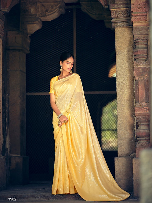 Sequence work Partywear Yellow Saree