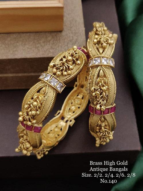 Brass High Gold Antique Bengles No 140
