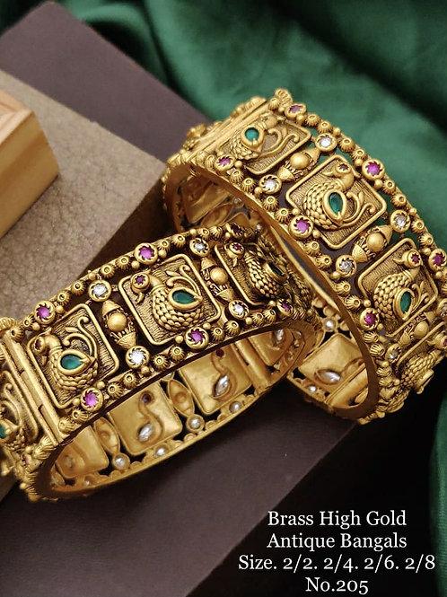 Brass High Gold Antique Bengles Peacock No 205