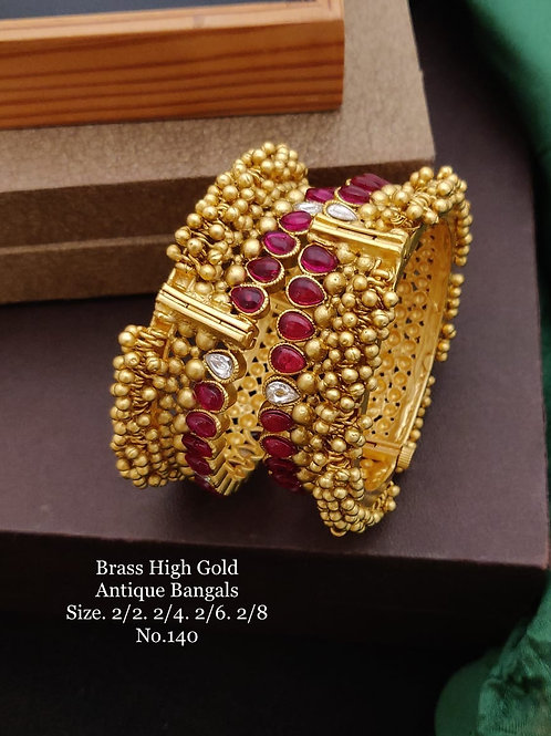 Brass High Gold Antique Bengles Red Kundan Style No 140