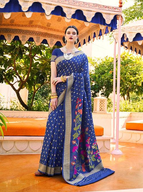 Royal Rajasthan Kollection Kawach Silk Blue Saree