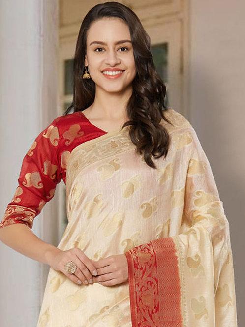 Classic Off White Soft Silk Saree with Rich Pallu & Heavy Border