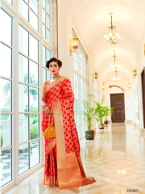Kimisha Excellency Royal Red Banarasi Silk Saree