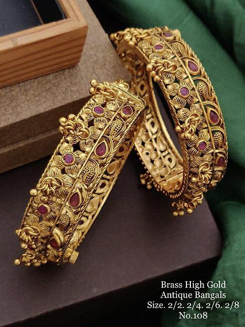 Brass High Gold Antique Bengles No 108