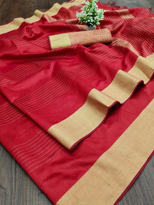 Cotton Silk Saree with Weaving Jari Border Bright Red