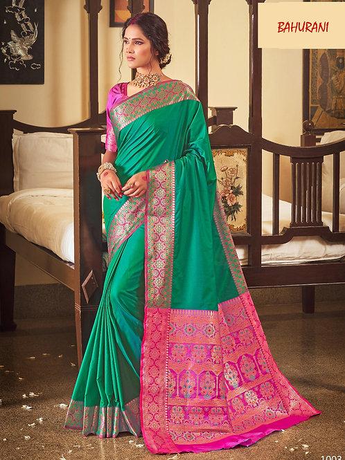 Rangoli Soft Silk Bahurani Collection - Aqua Blue Saree