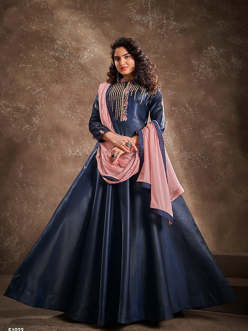 APSARA - Beautiful Silk Heavy Embroidery Blue Gown