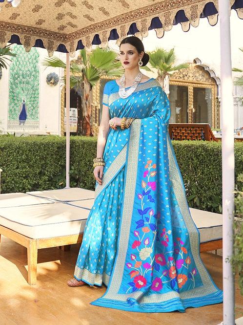 Royal Rajasthan Kollection Kawach Silk Cool Blue Saree