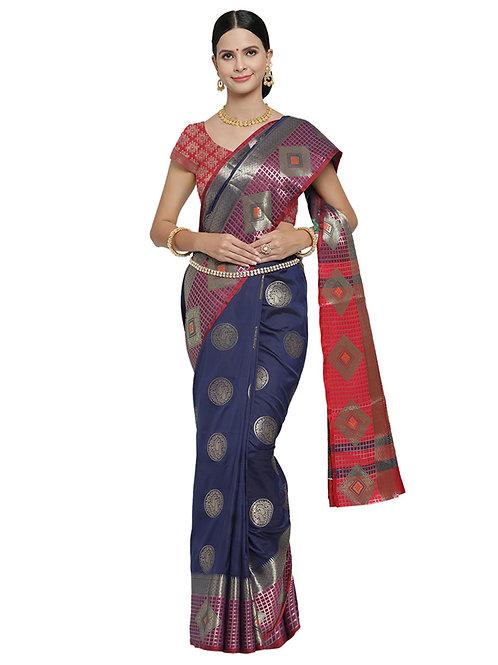 Tradition Kanchipuram Style Rapid Silk Deep Blue Saree