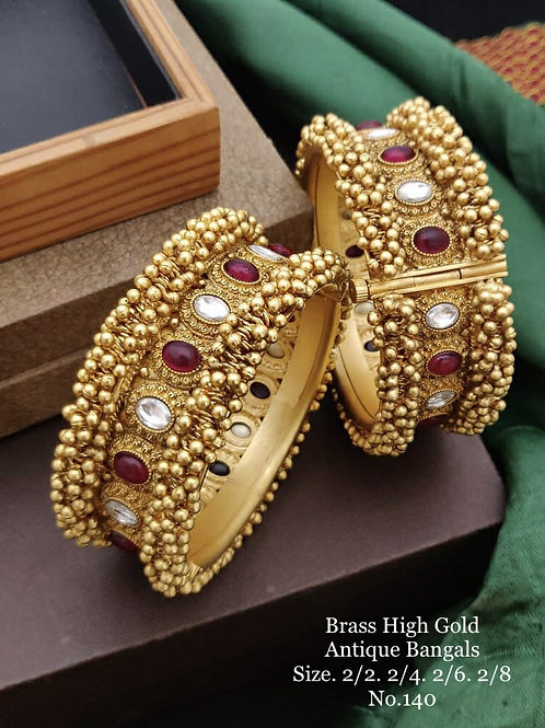 Brass High Gold Antique Bengles Red-WhiteKundan  No 140