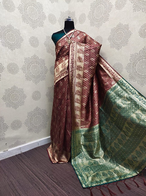 SARATHI - Banarasi Soft Silk Saree Maroon