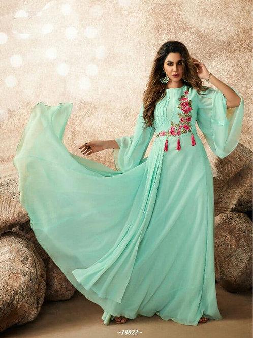 Luxurious Delicate Aqua Heavy Fox Georgette Gown