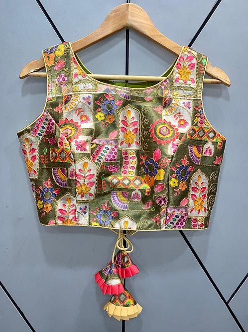 Floral Digital Designer Thread Work Blouse 05