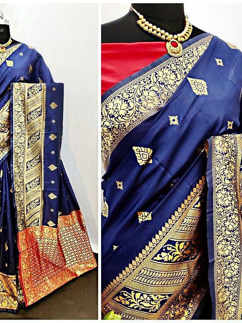 BHARATHI - Banarasi Soft Silk Saree Blue