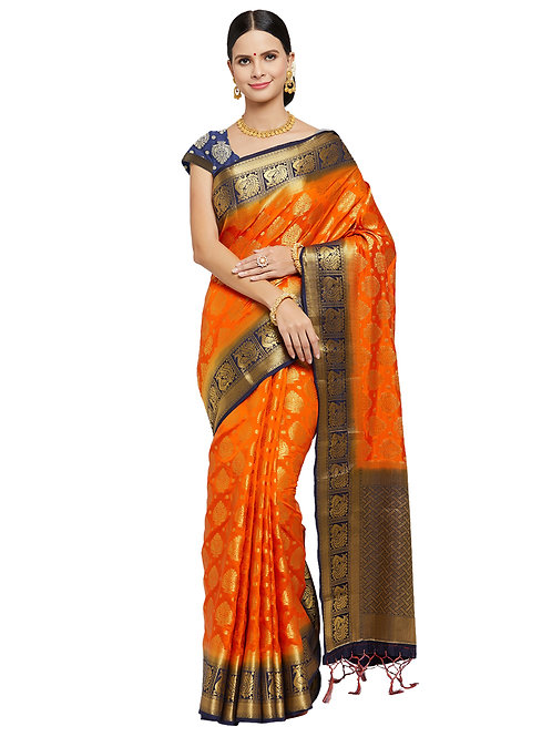Tradition Kanchipuram Raw Silk Golden Orange Heavy Pallu Silk Saree