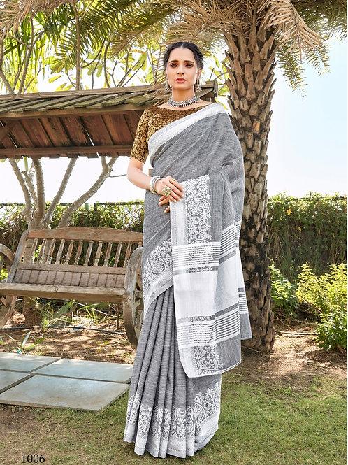 Linen Saree Lucknowi Border Grey Saree