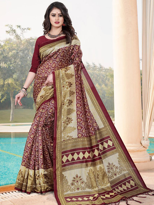 Stardom Mysore Silk Maroon Saree v3