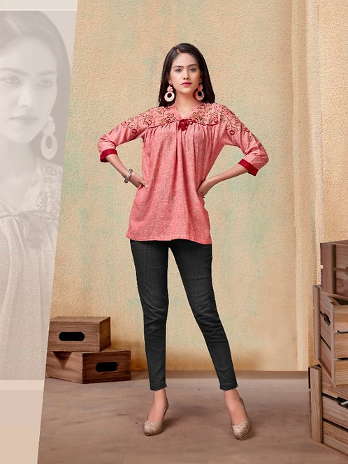 Fabulous Heavy Rayon Trendy Pink Short Kurti