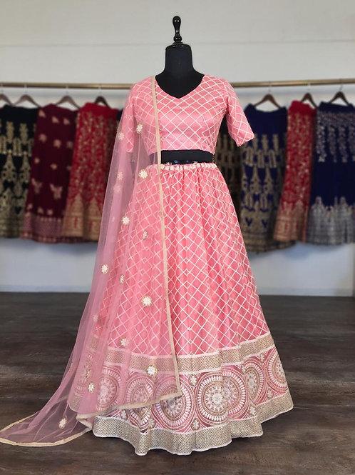 Dazzling Pink Lucknowi Lehenga Choli with Dupatta & unstitched blouse