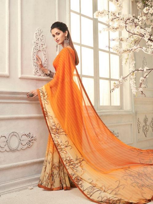 AASHI - Orange Georgette Saree with Lace
