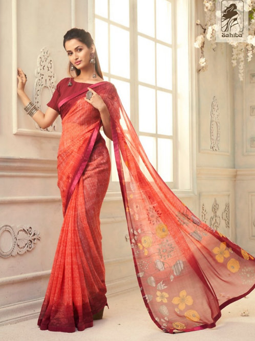 AASHI - Red Orange Georgette Saree with Lace