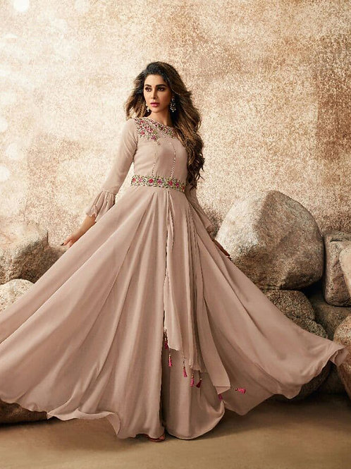 Tempting Chocolate Heavy Fox Georgette Gown