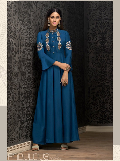 NAVYA - Beautiful Heavy Embroideried Gown (Blue)