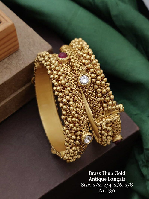 Brass High Gold Antique Bengles Kundan with Gjunghroo No 130