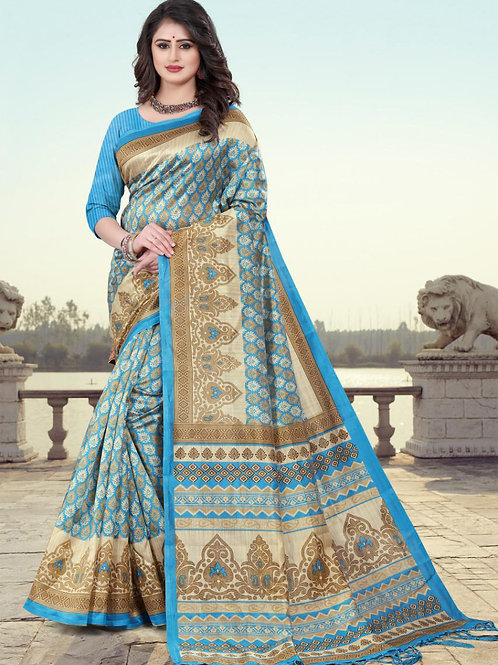 Stardom Mysore Silk Blue Saree