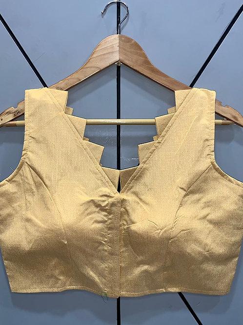 Designer Fantom Silk Step Cut Golden Blouse