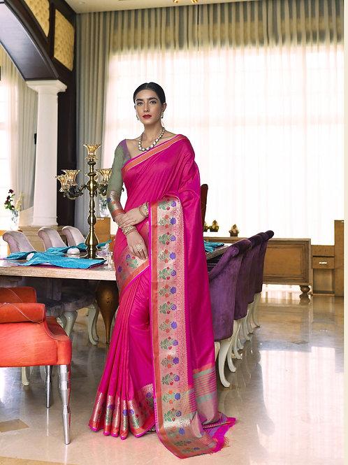 Sindrella - Kundan Handloom Weaving Silk Saree