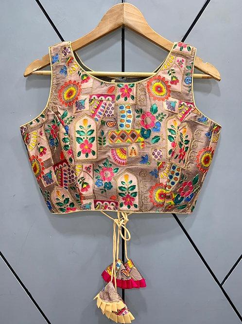 Floral Digital Designer Thread Work Blouse 14