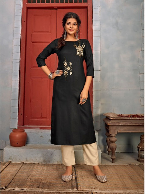 Summer Designer Collection Heavy Rayon Black Kurti with Pant