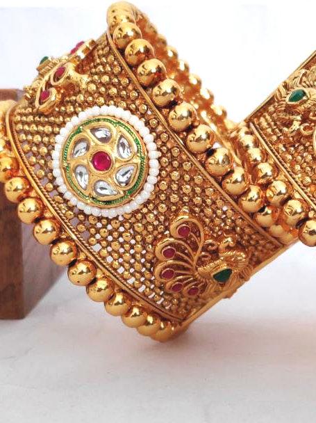 Brass & Beed Rajwadi Patla High Gold Bangle D60N60