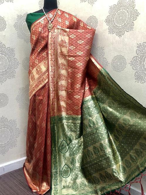 SARATHI - Banarasi Soft Silk Saree Red