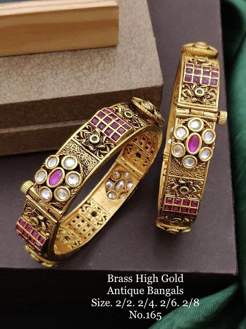 Brass High Gold Antique Bengles Oxidized No 165