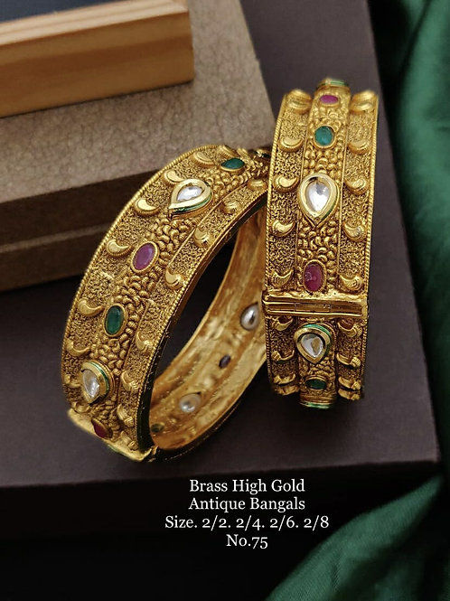 Brass High Gold Antique Bengles No 75