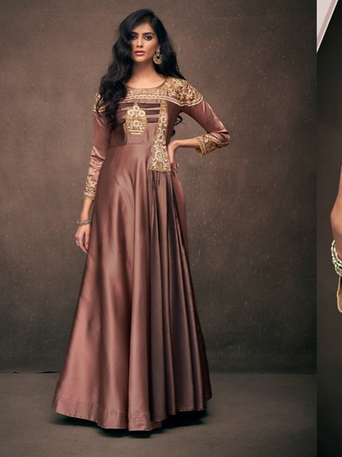 Marvela Chocolate Partywear Vtriva Satin Gown With Embroidery Work - D.No 1203
