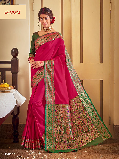 Rangoli Soft Silk Bahurani Collection - Bold Megenta Saree