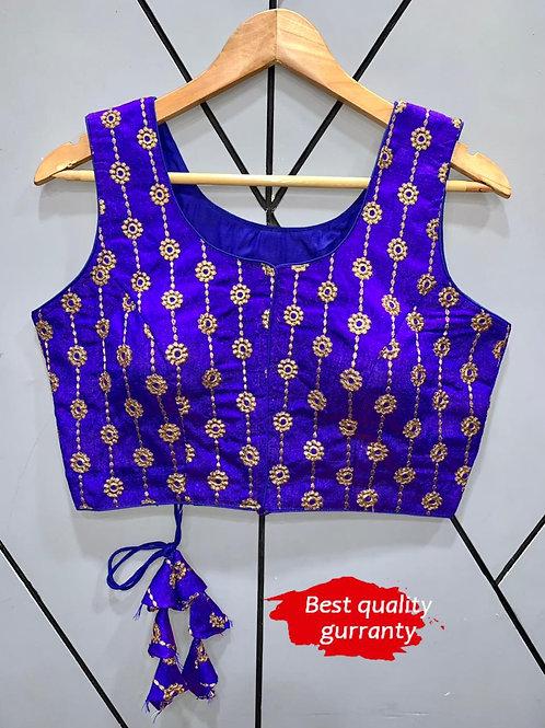 Designer Embroidery Fantom Silk Royal Blue Blouse