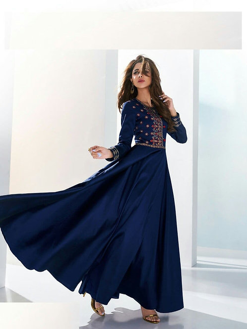 SHANVI - Beautiful Embroidered N.Blue Gown