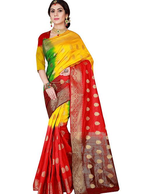 Pachrangi Yellow-Red Raw Soft Silk Saree Festival