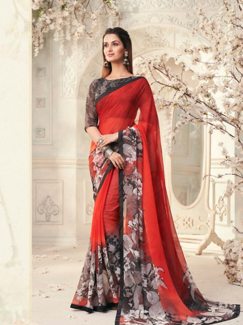 AASHI - Red Grey Georgette Saree with Lace
